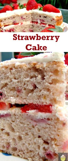 Strawberry Cake - This cake is light, fluffy and BURSTING with strawberry flavor! Made from scratch and using fresh ingredients. Easy recipe too. Yummy! | Lovefoodies.com