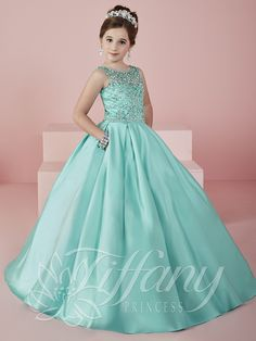 e711752f2 Fancy Aquamarine Heavily Crystal Beaded Girl Pageant Gowns Sheer Neckline  Sleeveless Lace Up Girl Wedding Party Dresses Yrs
