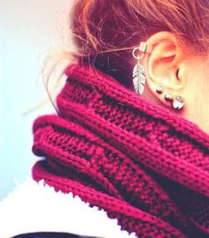 scarf and earring