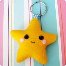 cute felt star Felt Crafts Diy, Felted Wool Crafts, Crafts To Make, Sewing Crafts, Sewing Projects, Diy For Kids, Crafts For Kids, Arts And Crafts, Felt Keychain