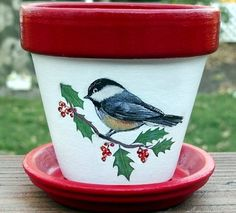 Chickadee and Holly Painted Flower Pot by EllensClayCreations,