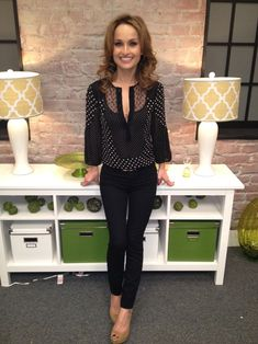 Top: Nanette Lepore  Jeans: J Brand  Shoes: Gucci  Ring: Pomellato  Earrings/Necklace: Jaimie Geller Los Angeles