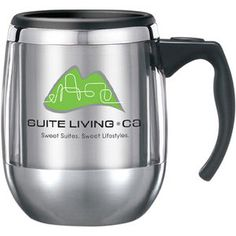 VisionSteel Office Mug with lid. The ultimate blend of stainless steel and plastic copolymer. Polish accent above brushed finish below. Contoured handle with comfortable thumbrest creates a masterpiece. Includes lid! #jmprintit
