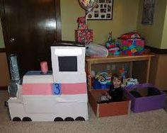 Cardboard Choo Choo Train's Debut Cardboard Train, Diy Cardboard, Home Activities, Toddler Activities, Cardboard Kitchen, Polar Express Train, Choo Choo Train, Preschool Classroom, Duct Tape