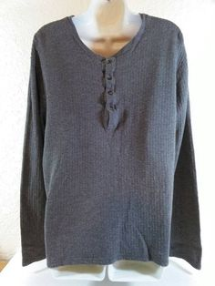 CALVIN KLEIN Gray Long Sleeve Pullover Shirt Top Mens Extra Large XL B225 #CalvinKlein #PoloRugby