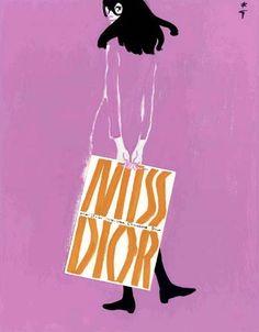 Miss Dior by René Gruau for Parfums Christian Dior, 1983