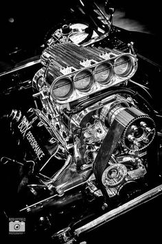 Blown Big Block Chevrolet by Ryan Bloomfield Custom Muscle Cars, Custom Cars, Sexy Cars, Hot Cars, Camaro Engine, Auto Engine, Car Drawings, Automotive Art, Drag Cars