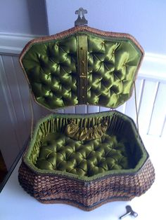 Aniique Sewing  Woven Music  Basket  with Key to  Wind. 150.00, via Etsy.
