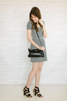 striped dress   chunky heels