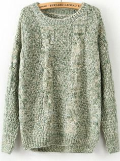 green long sleeve pullover round neck blends sweater  $42.99  www.colthesway.net