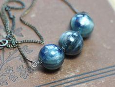 Kyanite Necklace Big Round Gemstone Bead Bar by TheTwistedPretzel