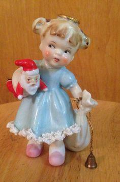 Vintage Christmas ARDALT Angel in BLUE dress with Santa Doll RARE