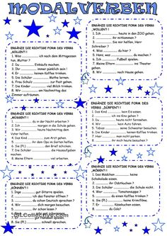 MODALVERBEN                                                                                                                                                                                 Mehr German Grammar, German Words, German Resources, Deutsch Language, German English, German Language Learning, Back To School Teacher, Learn German, School Worksheets