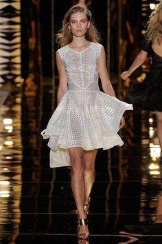 Emmy Rossum wearing Cynthia Rowley Spring 2012 Rtw White Lattice Fluted Skirt Dress.