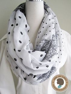 Polka dot scarf Soft Lightweight Loop Scarf by UrbanLadyScarves