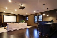 basement design media room Opciones de diseño Sótano Decoracion