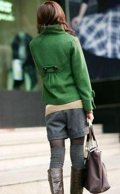 Repurpose shorts for winter - grey shorts, leg warmers, boots, green jacket