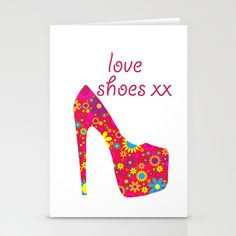 Love Shoes Floral Fun Art Stationery Cards by Karen Arnold - $12.00