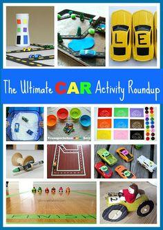 Some great toddler ideas! (Over 40 Ways to Play, Learn, & Create with Cars-The Ultimate Hot Wheels and Toy Car Activity Roundup)~ Buggy and Buddy Craft Activities For Kids, Educational Activities, Learning Activities, Preschool Activities, Kids Learning, Cars Preschool, Hot Wheels, Transportation Activities, Transportation Party