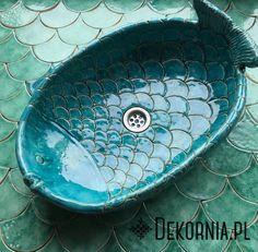 Handmade washstand, ceramics, original washbasin, unique sink #turquoise #sink #interior #fishscales #umywalka #dekornia #ceramika #recznierobione