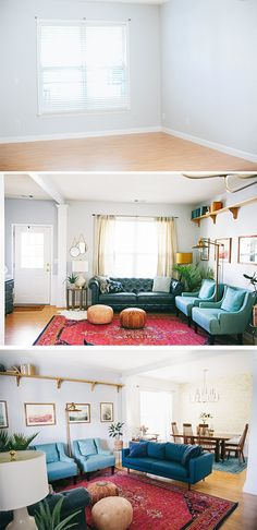 Living Room Makeover Reveal (In Honor Of Design) Living Room Designs, Living Spaces, Living Area, Living Rooms, Before And After Room Makeover, California Decor, Sofa Colors, Dream Apartment, City Living