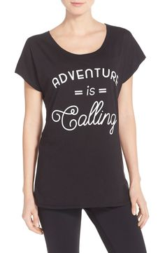 "Crushing on this cozy tee that says ""Adventure is calling."""