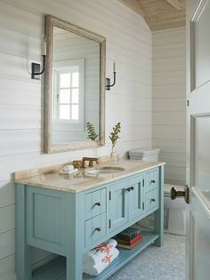 I love farmhouse bathrooms with a bright fresh color!
