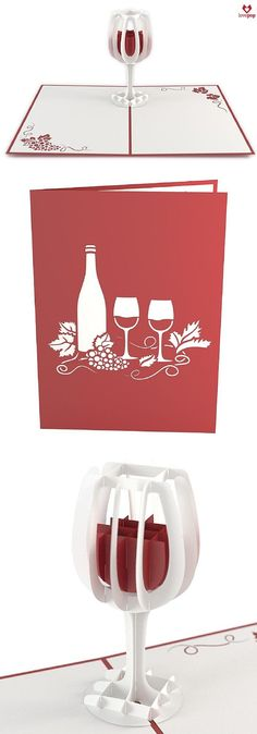 Surprise your favorite oenophile with a paper art wine glass. A perfect pop up card for the summer. #winetime #cheers