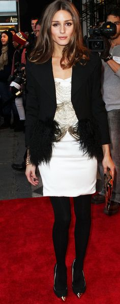 White Dress Black Feather Trim Coat