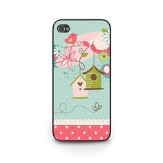 iPhone 5s Phone Case - Birdhouse Phone Case iPhone 5s - Spring iphone 5s case - mint green pink floral phone case