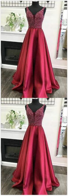 Sparkly Red Prom Dress,Stain Prom Dress,Beading Prom Dress,Long