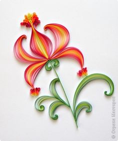 Master class, Postcard Quilling: Red Flower.  Paper, paper strips.
