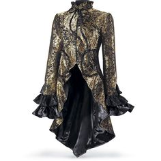 Brocaded Cutaway Coat Size X Large (€135) ❤ liked on Polyvore featuring outerwear, coats, jackets, steampunk, tops, plus size, long coat, long sleeve coat, stand collar coat and brocade coat