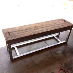 U bolt Coffee table. Reclaimed wood and metal. Rustic Modern Decor.