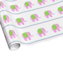 Pink Indian Elephants Gift Wrap #pink #elephants