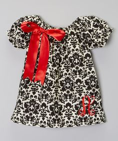 Look at this #zulilyfind! Black Damask Initial Dress - Infant, Toddler & Girls by Enchanted Couture #zulilyfinds