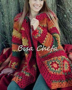 Crochet granny square coat pattern afghans 59 ideas for 2019 Crochet Bolero, Gilet Crochet, Crochet Coat, Crochet Jacket, Crochet Cardigan, Crochet Granny, Crochet Clothes, Shrug Sweater, Crochet Shrugs