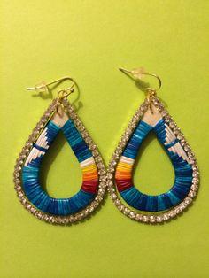 Porcupine quillwork earrings - Lourdes Zephier