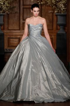 This gray ball gown wedding dress is amazing! Romona Keveza Collection eb92b4c27401