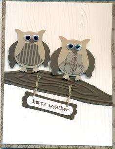 Owl punch & woodgrain embossing,