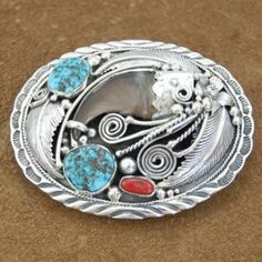 Native American Jewelry | Navajo Handcrafted belt buckles,Native American Turquoise and Coral Bear Claw Sterling Belt Buckle, http://nativeamericanstuff.net/Navajo%20Handcrafted%20Belt%20Buckles.htm