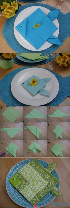 Fischservietten Deco Table Communion, Folding Napkins, Paper Napkin Folding, Napkin Origami, Inspiring Pictures, Underwater Theme, Sea Theme, How To Fold Towels, Dinner Table