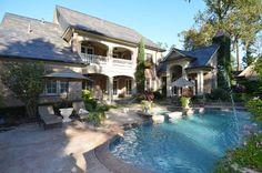 Veranda, patio, pool layout. Via:FRench Country Manor backyard