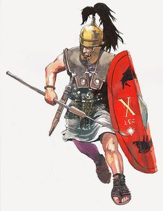 Roman legionary from the time of Julius Caesar - illustration de V. Ancient Rome, Ancient Greece, Ancient History, Punic Wars, Rome Antique, Roman Warriors, Roman Legion, Greek Warrior, Roman Republic