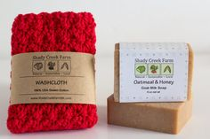 Christmas Gift Soap and Washcloth Gift Set, Gift for women wash cloth Soap Gift All Natural Skincare Crochet washcloth