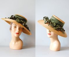 1940s hat / wide brim tilt hat / picture hat / by DearGolden