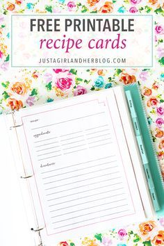 Snag your free printable recipe cards in two cute styles! Whether your prefer a recipe binder or box, organize your recipes with these awesome printables! Printable Recipe Page, Recipe Book Templates, Recipe Printables, Free Printables, Cookbook Template, Printable Cards, Printable Planner, Family Recipe Book, Recipe Books