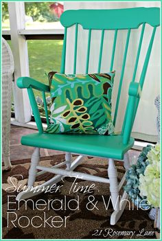 Add a pop of color to your patio furniture this summer! Learn how to make this easy Summer Time #Emerald and White Rocker. #ColoroftheYear