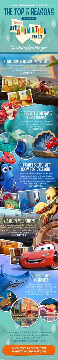 Top 5 Reasons to stay at Disney's Art of Animation Resort! (And if you'd like more information, you can also check out our Disney Resorts board: http://www.pinterest.com/greatwdwtips/the-disney-world-resorts/)