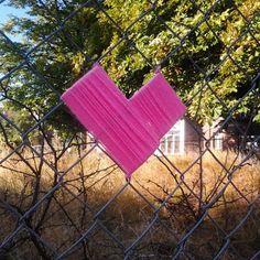 Things I Love- September - heart-shaped yarn bomb